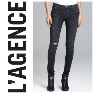 L'AGENCE Distressed Grey Skinny Jeans 27